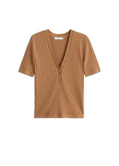MANGO Bottoned ribbed t-shirt