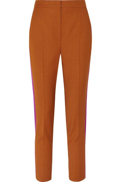 Roksanda | Colwyn satin-trimmed twill tapered pants | NET-A-PORTER.COM