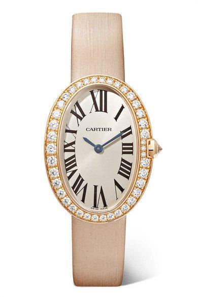 Cartier | Baignoire 24.5mm small 18-karat pink gold, toile brossée and diamond watch | NET-A-PORTER.COM