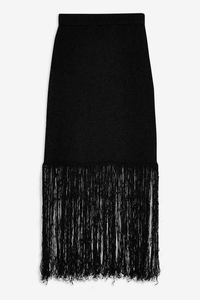 **Fringe Knit Skirt by Boutique   Topshop black
