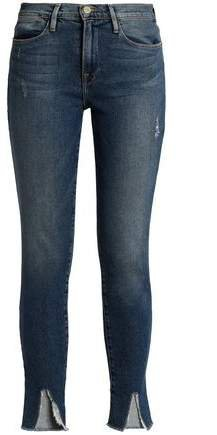 Le High Distressed Mid-rise Skinny Jeans