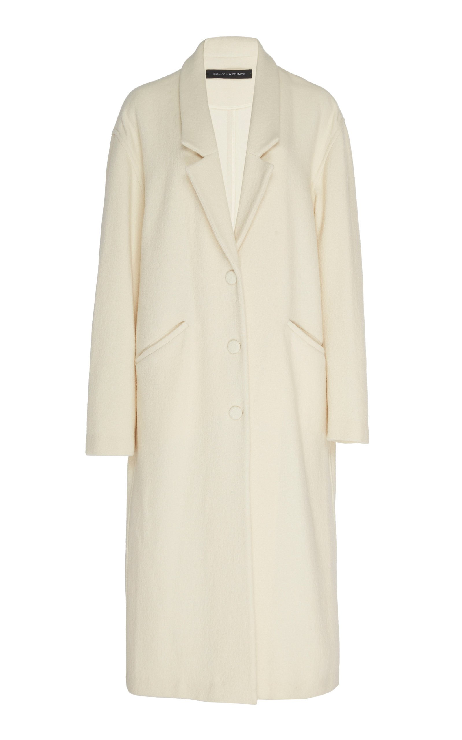 Sally LaPointe Wool Boucle Long Dropped Collar Coat