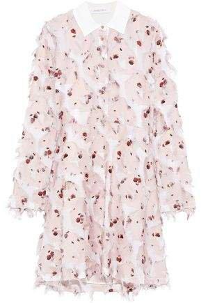 Fringed Floral-print Fil Coupe Crepe De Chine Shirt Dress