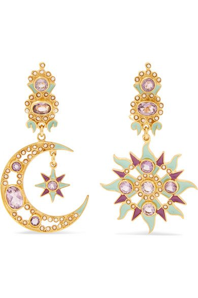 Percossi Papi | Gold-plated enamel, amethyst and pearl earrings | NET-A-PORTER.COM