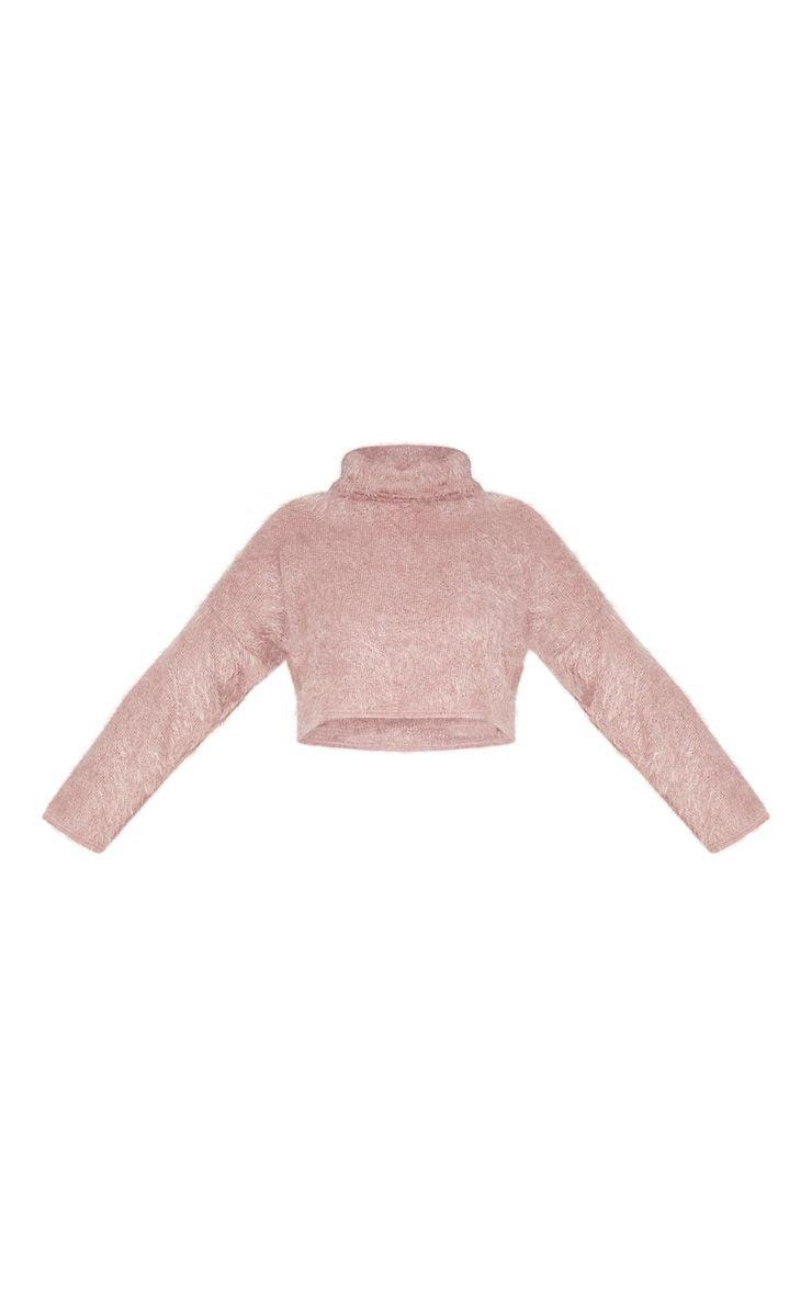 Plus Pink Fluffy Knit Roll Crop Jumper | PrettyLittleThing USA
