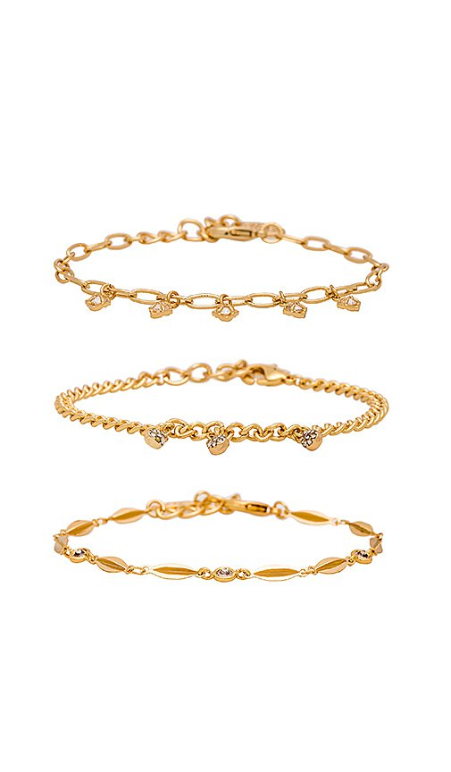 Ettika Dainty Bracelet Set in Gold | REVOLVE