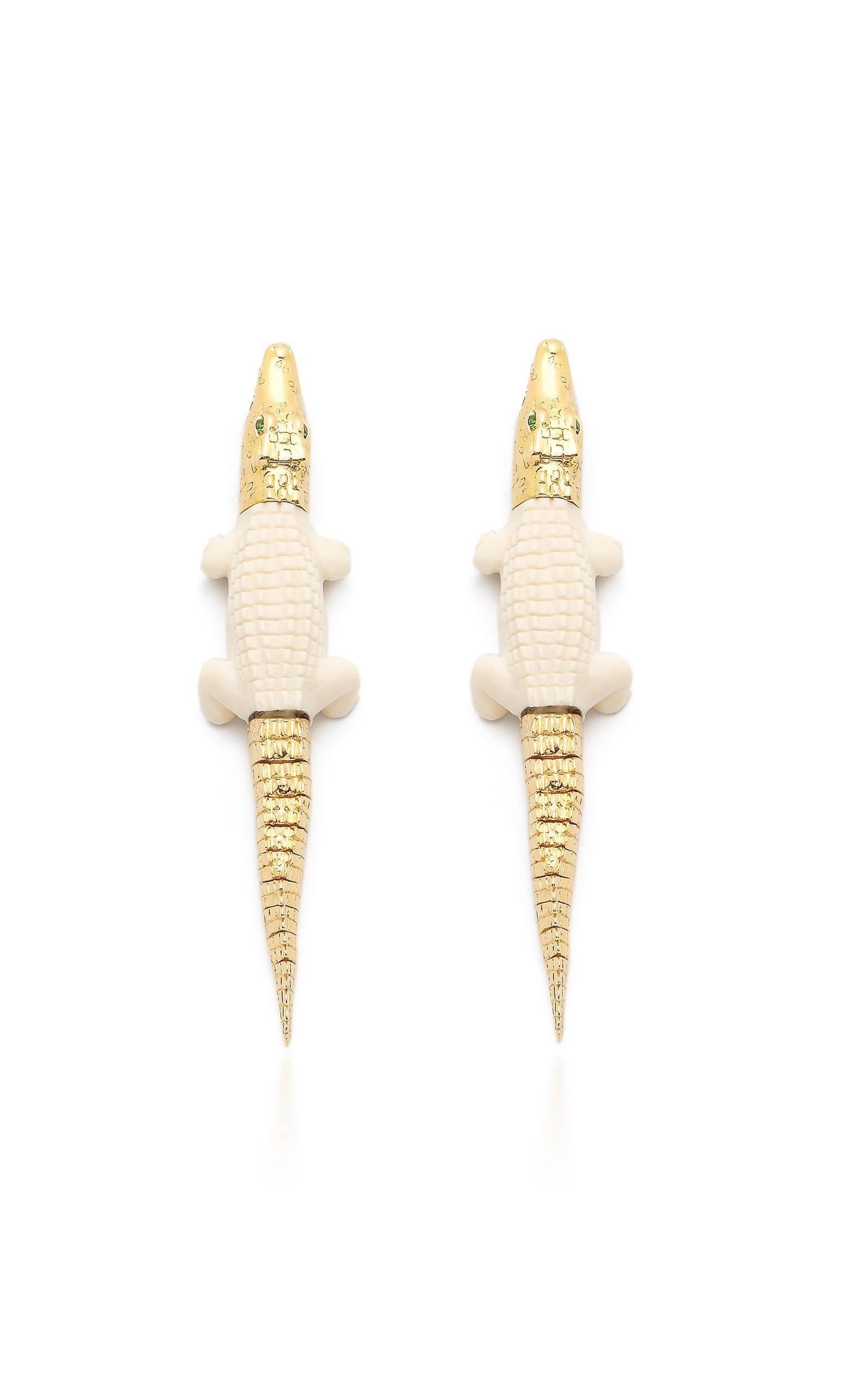 Bibi van der Velden Mammoth Alligator Bite Earrings'