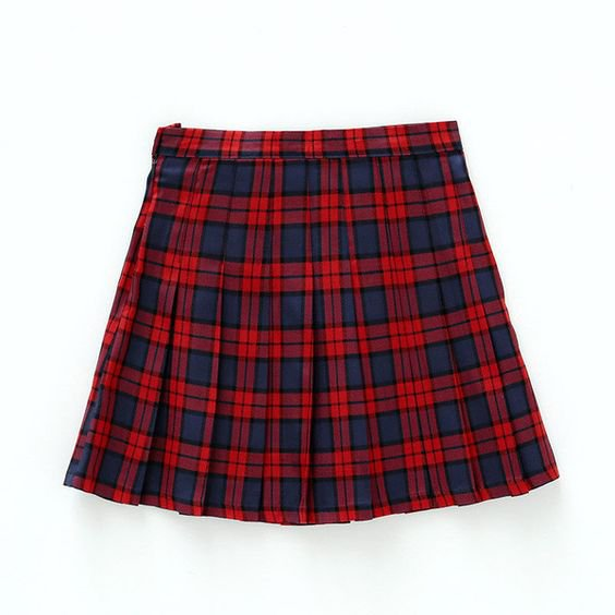 Red Plaid Mini Skirt