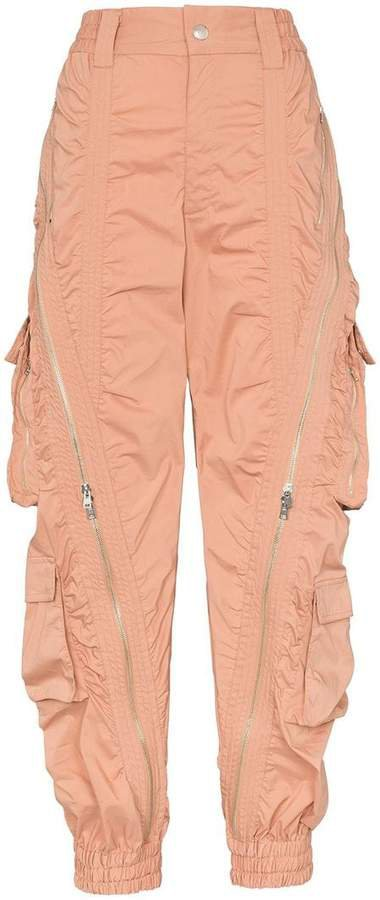 zip detail utility pocket cargo trousers
