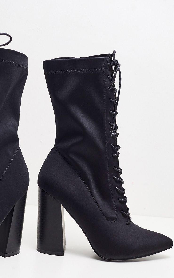 Black Block Heel Lace Up Lycra Sock Boot | PrettyLittleThing USA