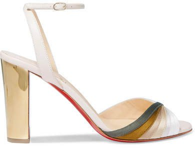 Naseebasse 85 Satin And Leather Sandals - Tan