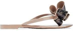Bow-embellished Printed Rubber Flip Flops