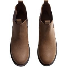 H&M Chelsea boots (1.900 RUB) ❤ liked on Polyvore featuring shoes, boots, ankle booties, brown, sapatos, brown chelsea boots, h&m boots, rubber sole boots, chelsea ankle boots and brown ankle booties