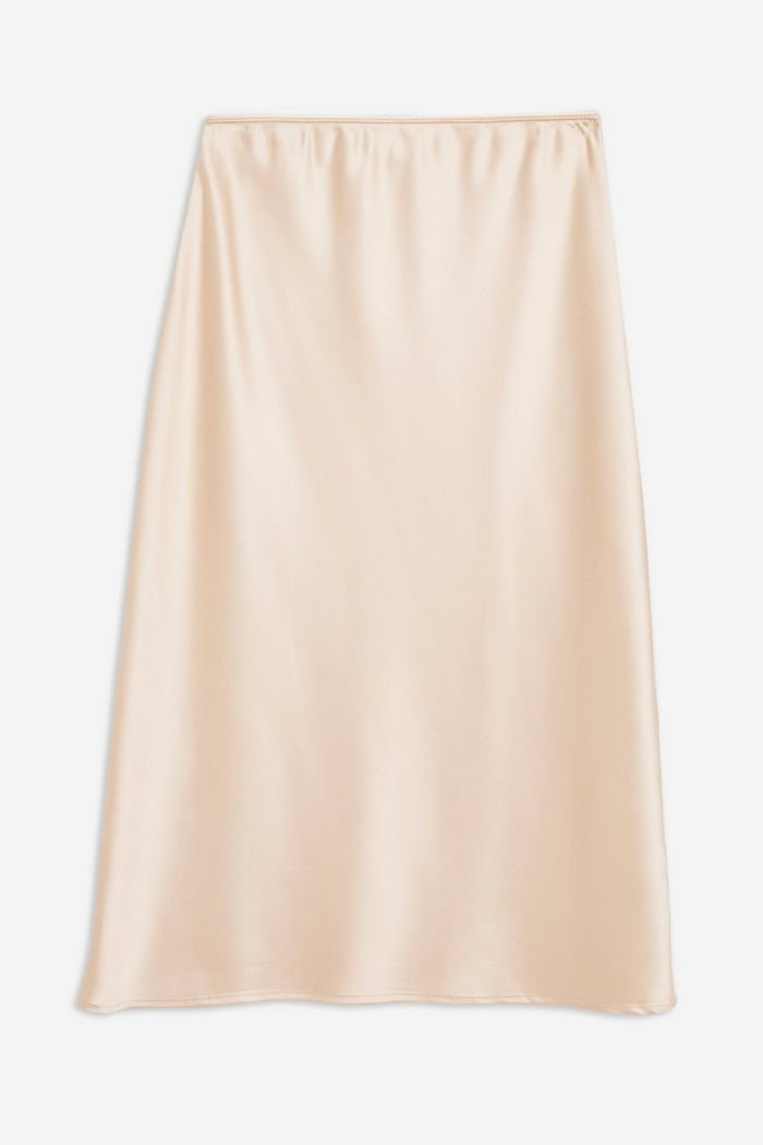 PETITE Satin Bias Skirt | Topshop peach