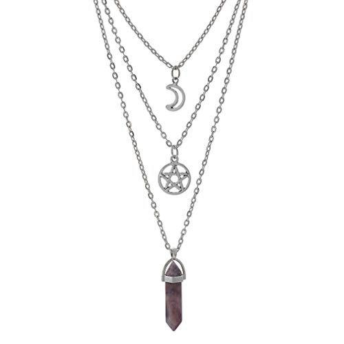 Amazon.com: MJartoria Moon Pentagram Necklaces-Chakra Charm Pendant 3 Layered Silver Color Alloy Chain Choker Necklace Set: Jewelry