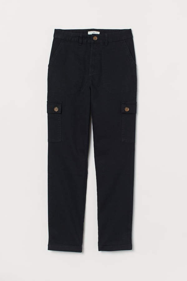 Ankle-length Cargo Pants - Black