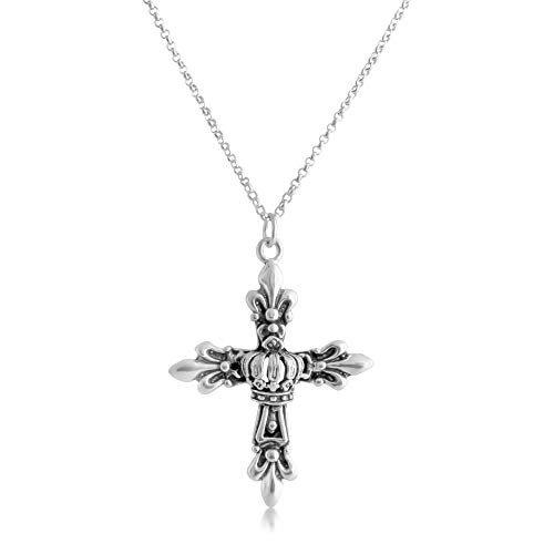 925 Sterling Silver Fleur De Lis Cross with Crown Pendant Necklace