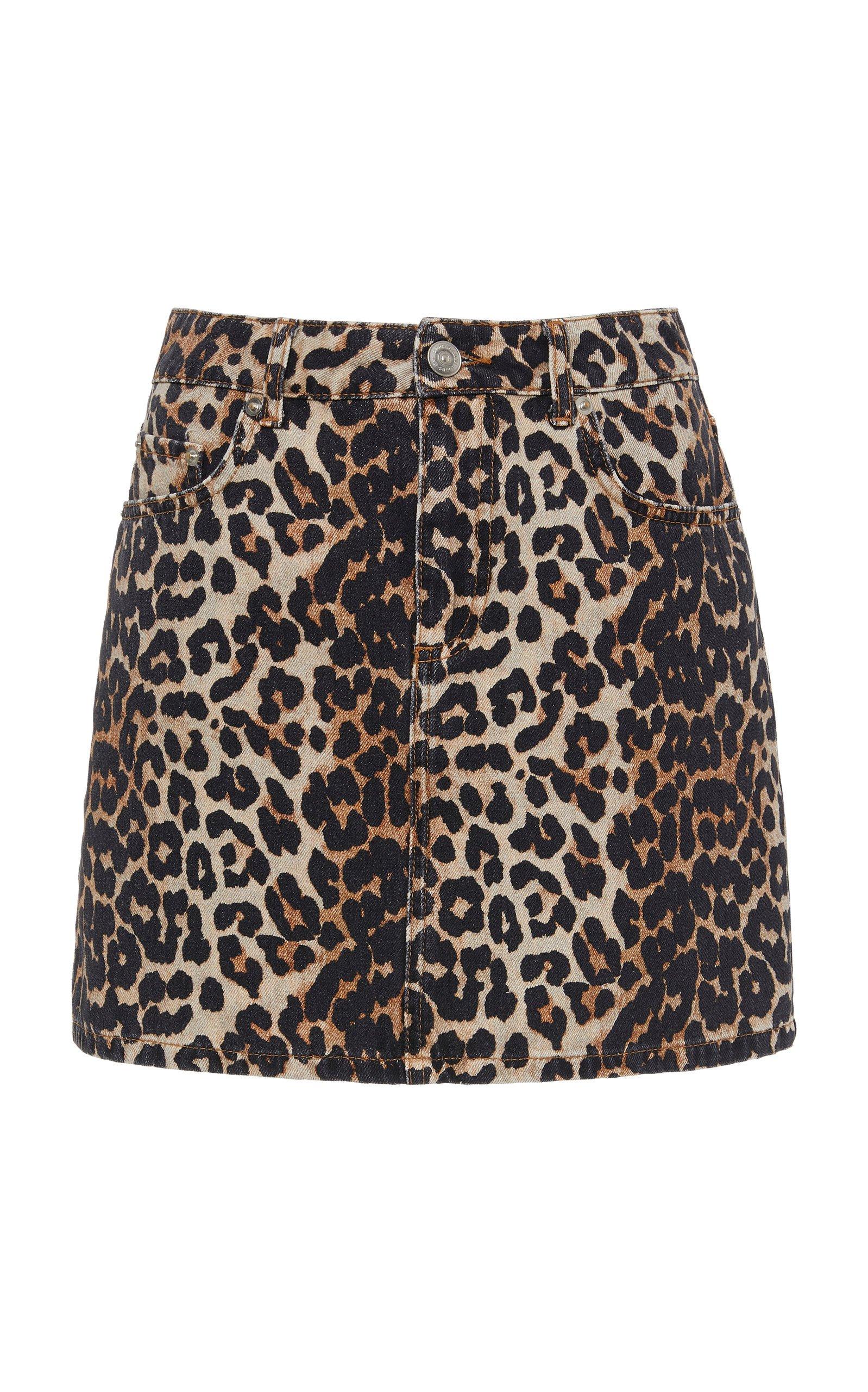 Ganni Leopard-Print Denim Mini Skirt Size: 40
