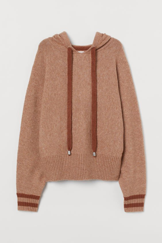 Fine-knit hooded jumper - Beige - Ladies | H&M GB