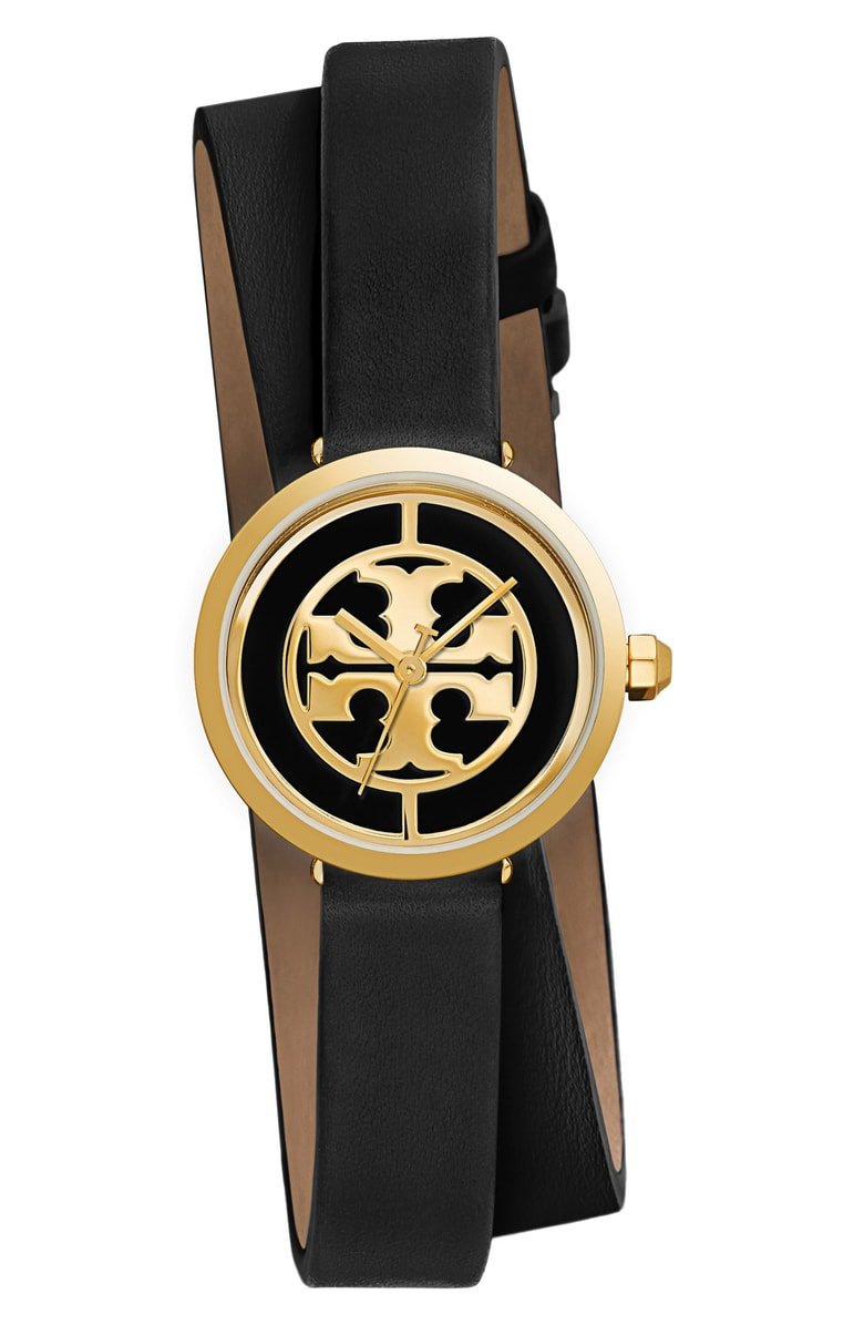 Tory Burch Reva Logo Dial Double Wrap Leather Strap Watch, 28mm | Nordstrom