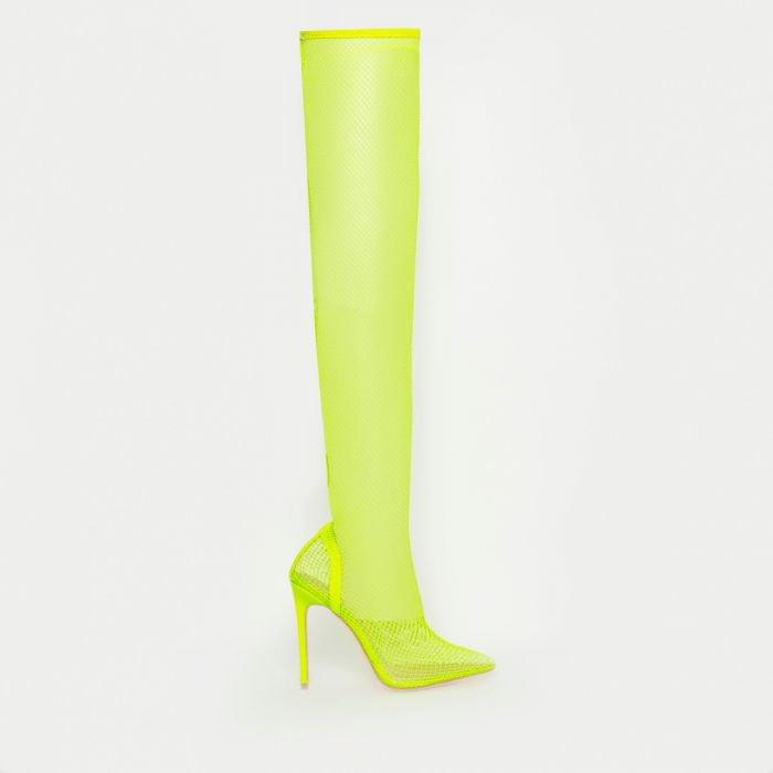 Kanya Neon Yellow Clear Fishnet Thigh High Heels