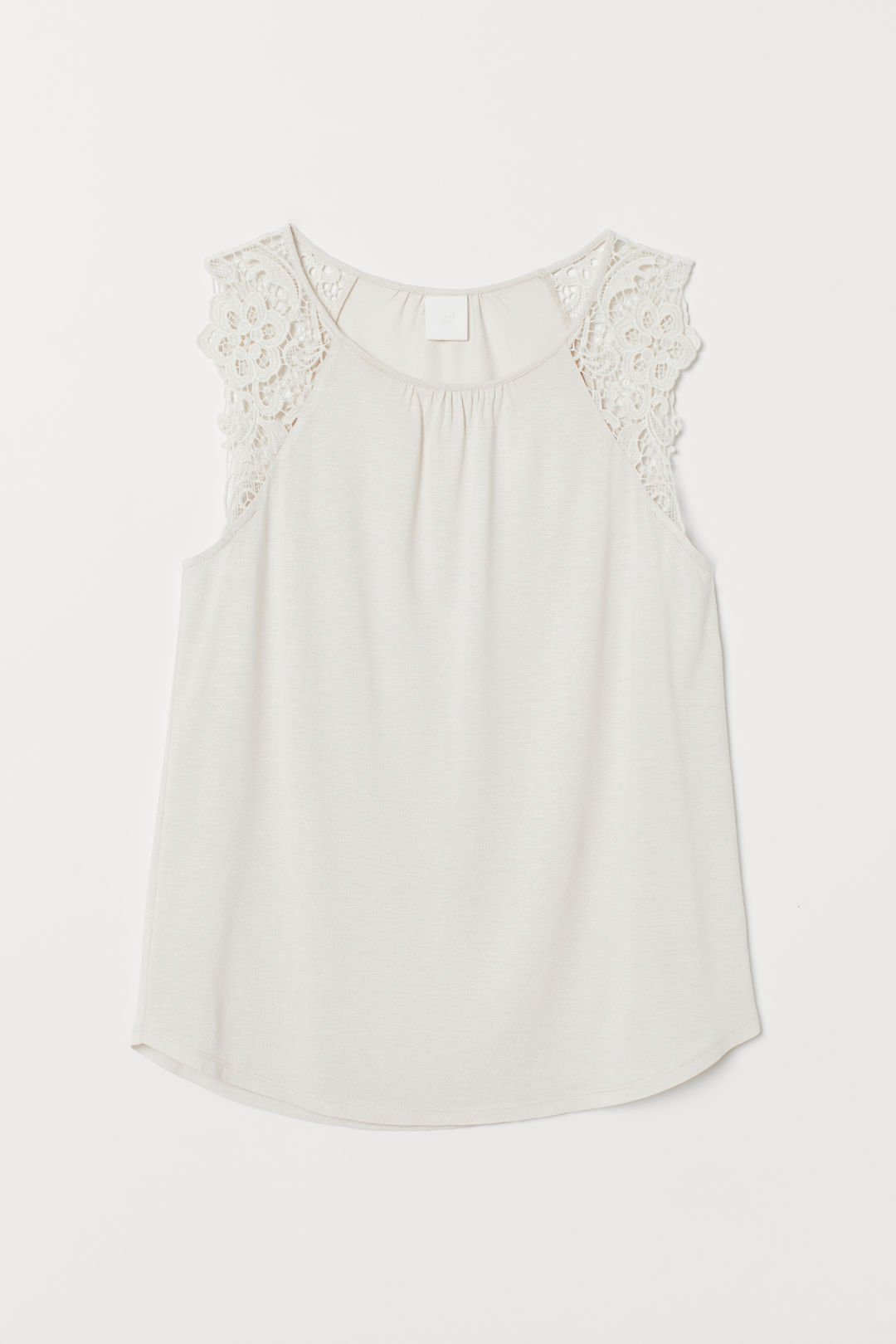 Jersey Top with Lace - Light powder beige - Ladies | H&M US