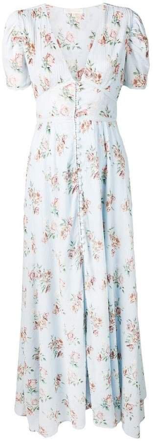Love Shack Fancy floral flared maxi dress