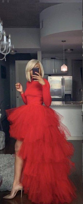 Oyemwen Tiered High Low Tulle Maxi Tutu Skirt Turtleneck Set (Red) – Fashion Bomb World LLC