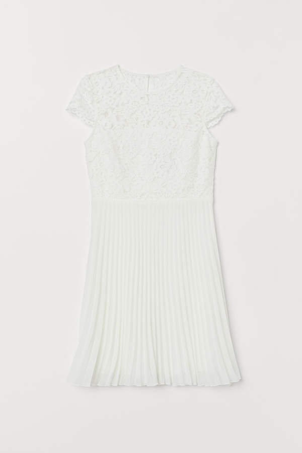 Pleated Lace Dress - White