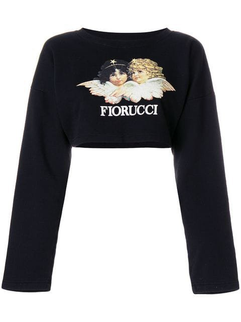 Fiorucci logo patch cropped sweatshirt $66 - Shop SS18 Online - Fast Delivery, Price