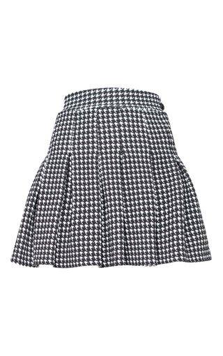 Black Dogtooth Pleated Side Split Tennis Skirt | PrettyLittleThing