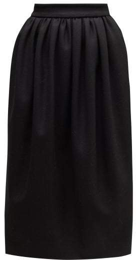Exposed Zip Wool Blend Felt Skirt - Womens - Black