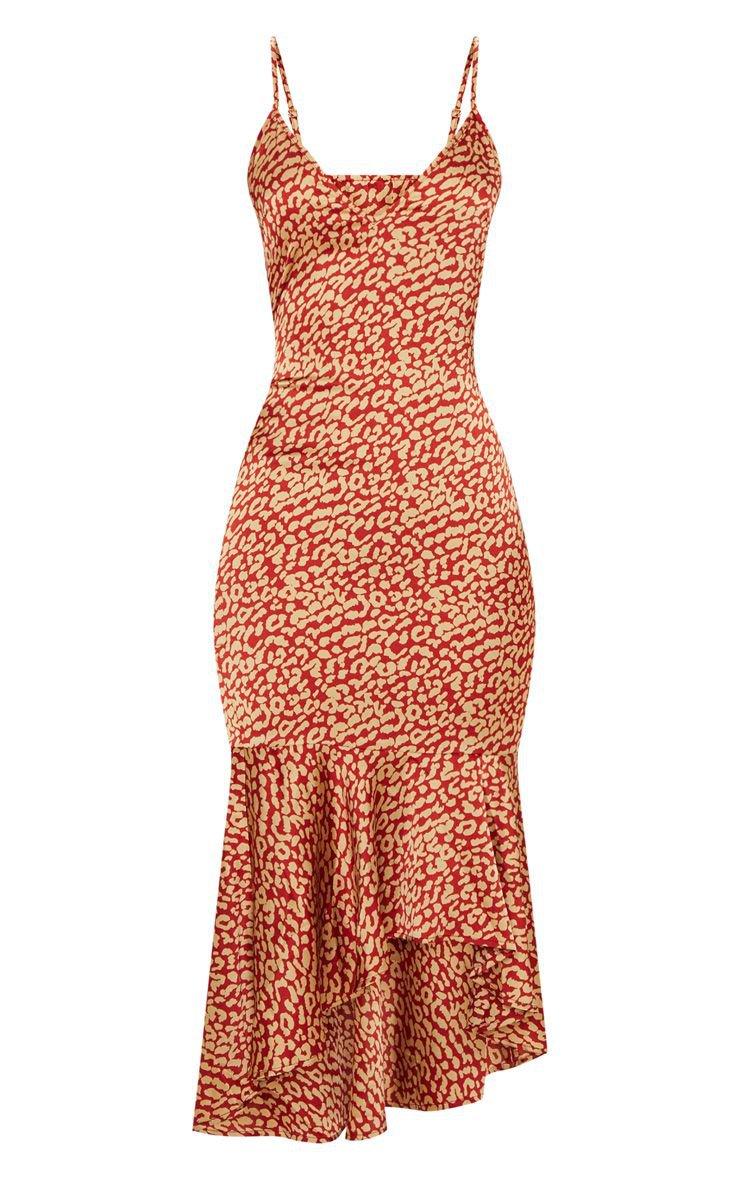 Red Leopard Print Frill Hem Midi Dress | PrettyLittleThing USA