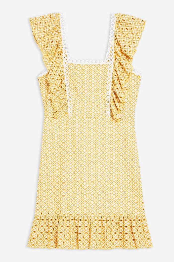 Yellow Broderie Mini Dress   Topshop yellow