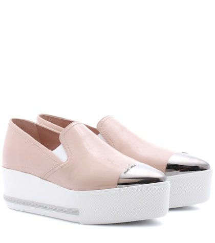 Leather platform loafers
