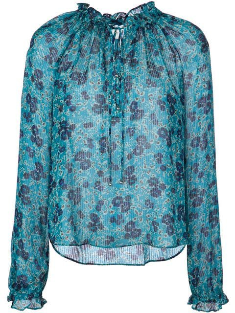 Veronica Beard Sheer Floral Print Blouse