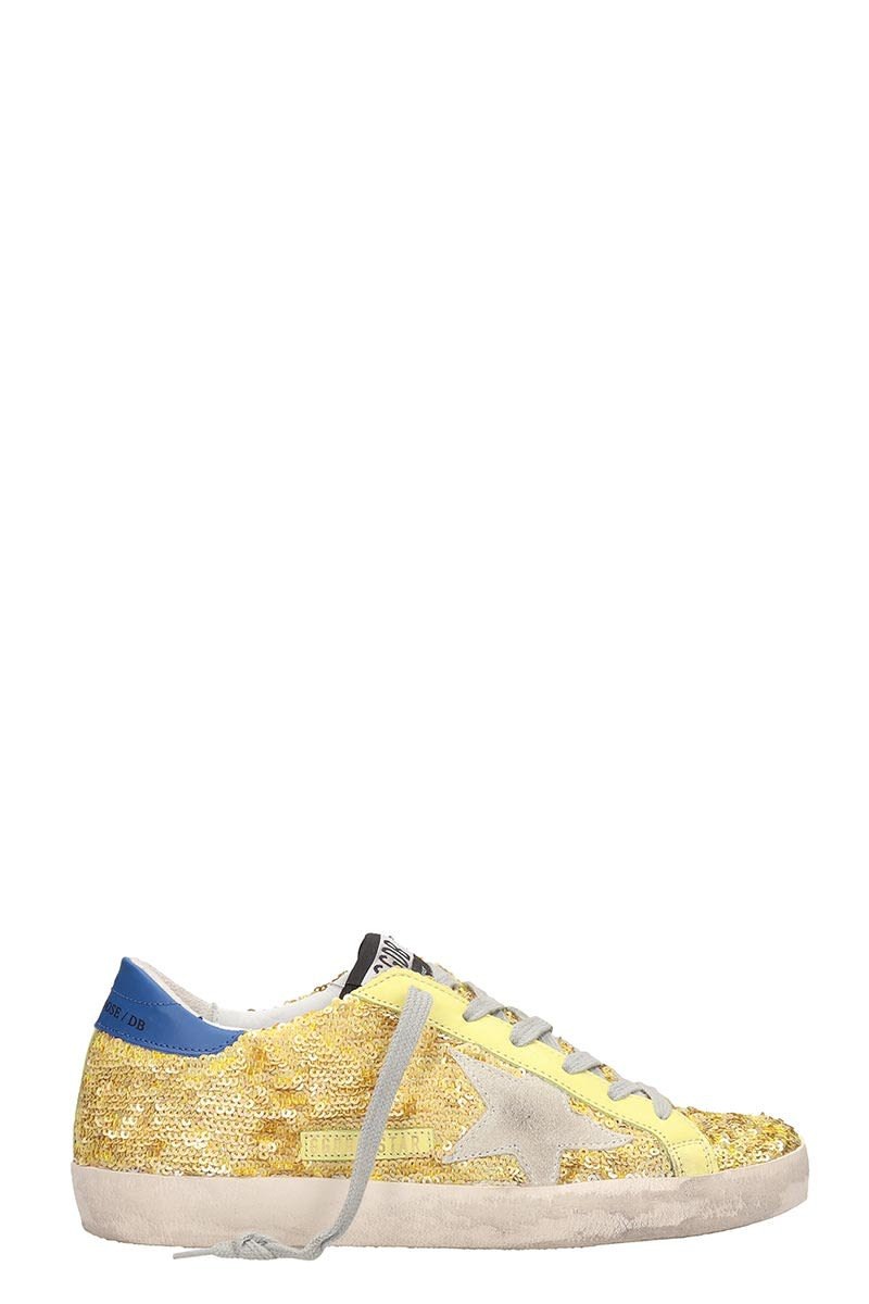 Golden Goose Leather And Gold Paillette Superstar Sneakers