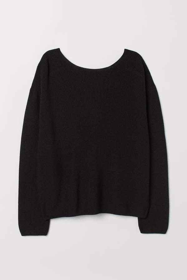 Sweater with Low-cut Back - Black