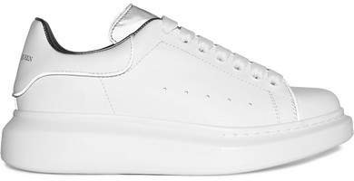 Reflective-trimmed Leather Exaggerated-sole Sneakers - White