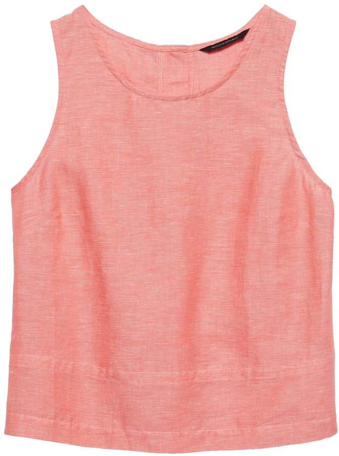 Petite Linen-Cotton Button-Back Tank