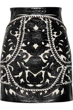black white leather skirt