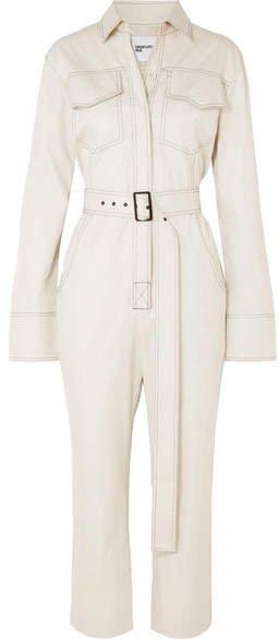 Orseund Iris - Workwear Belted Cotton-gabardine Jumpsuit - Cream