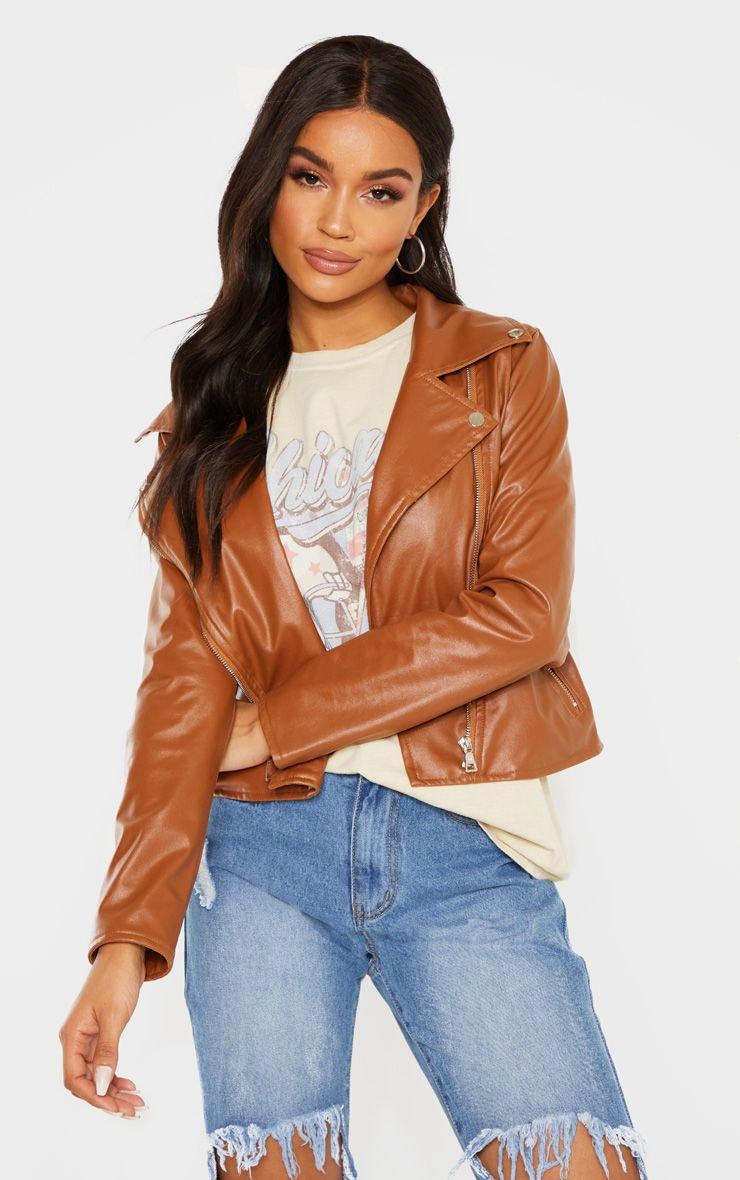 Tan Pu Zip Biker Jacket | Coats & Jackets | PrettyLittleThing