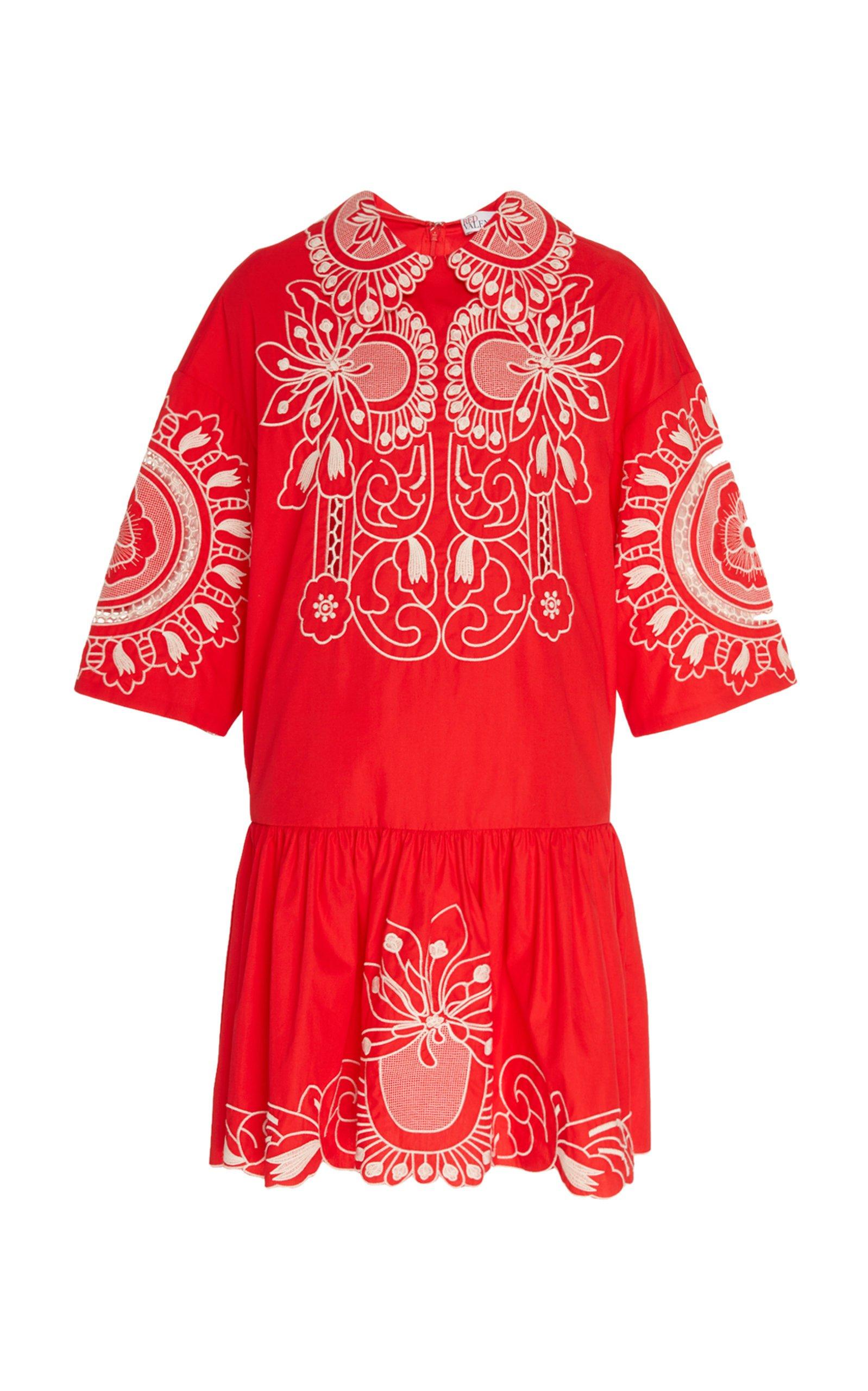 Red Valentino Embroidered Poplin Dress Size: 36