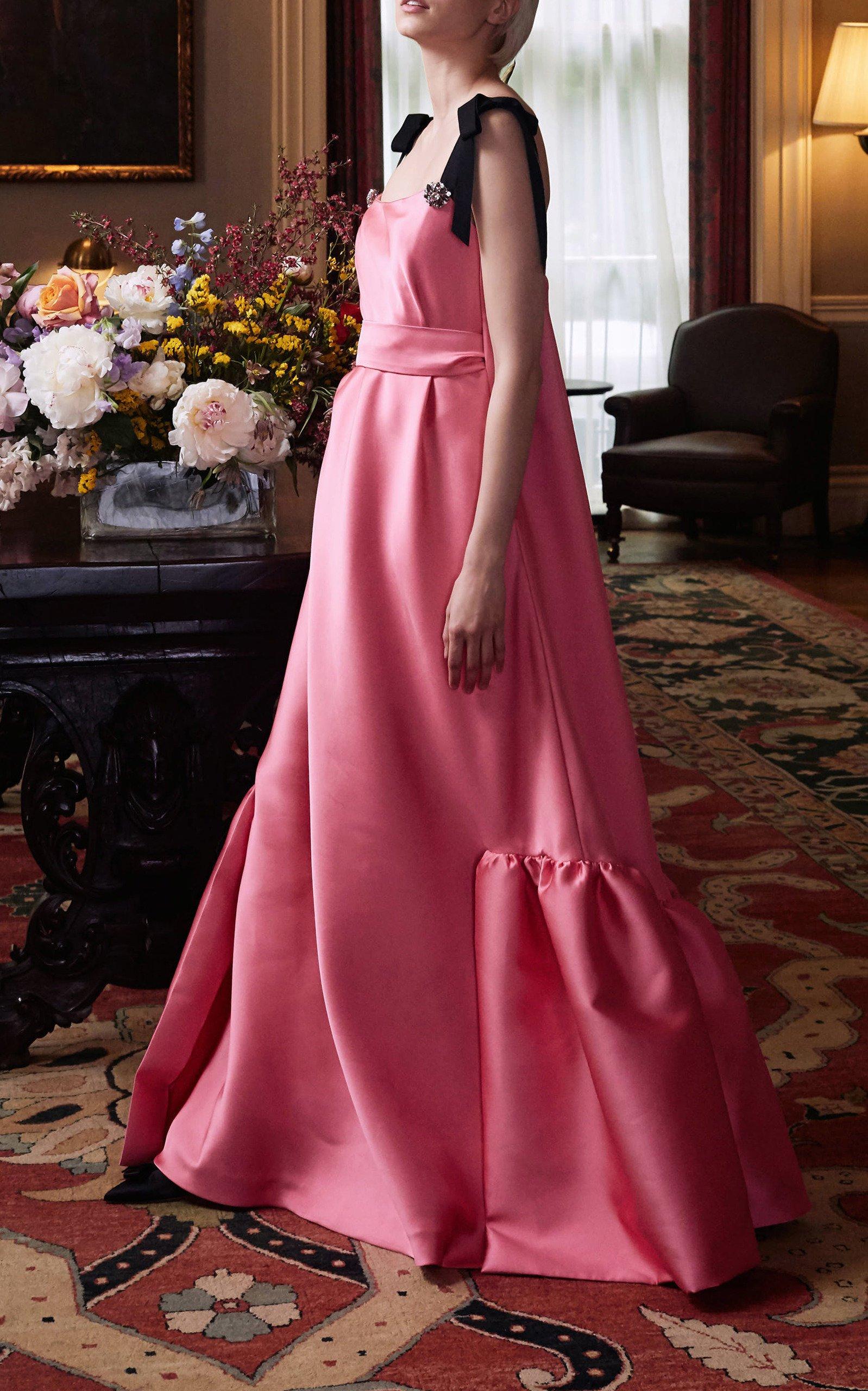 Lela Rose Crystal-Embellished Duchess Satin Empire Dress