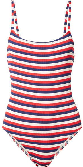 The Nina Striped Ribbed Stretch-knit Swimsuit - Navy