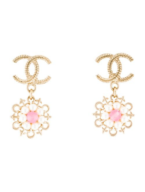 Chanel Faux Pearl & Dyed Quartzite Flower CC Drop Earrings - Earrings - CHA347172 | The RealReal