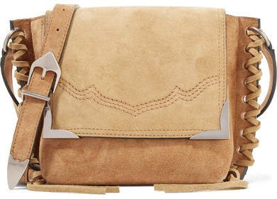 Kleny Whipstitched Two-tone Suede Shoulder Bag - Tan
