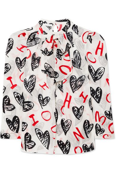 Moschino | Pussy-bow flocked printed chiffon blouse | NET-A-PORTER.COM