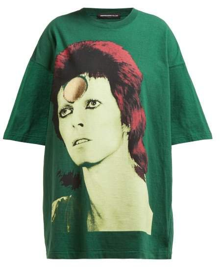 David Bowie Oversized Cotton T Shirt - Womens - Green